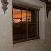 Sunset through window. Scotty's Castle - Death Valley National Park