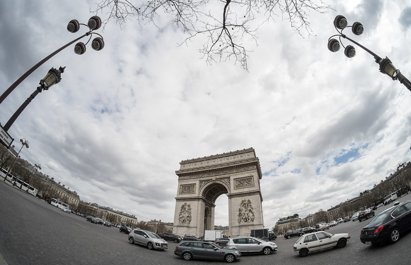 30 March 2015: Place Charles de Gaulle with my fisheye lens.