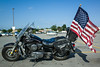 21 August 2014: a very patriotic motorcycle parked outside the gym I have been using during my visit to Orchard Park, NY.