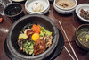 4 December 2013: lunch, Korean style--the traditional bibimbap and its side dishes.