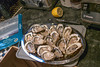 11 April 2014: the kitchen of my cousin Nicole in Brussels. It is Friday evening, the work is done, and she has invited me for dinner. This is the appetizer, fresh oysters delivered daily from the seafood market in Paris.