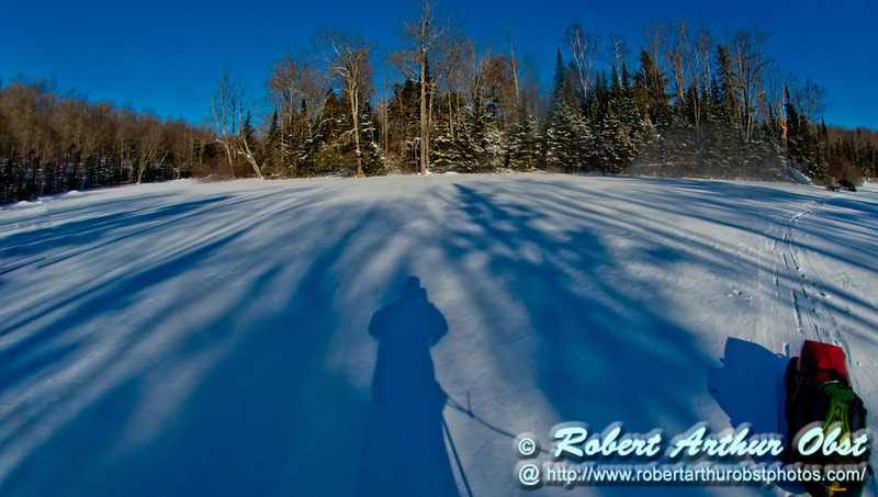 Cross country skier's and winter camper's gorgeous view of brilliant blue skies over a winter wonderland between Cedar and Sherry Rapids on Section 2 of the wild Wolf River (USA WI Langlade; Obst FAV Photos 2013 Nikon D800 Daily Best Obst Image 7709)