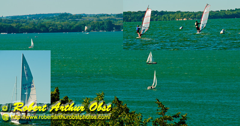 Photo collage of a perfect day for sailing and wind sufing on Lake Mendota near Obervatory Drive and the Memorial Union Terrace of the University of Wisconsin Madison campus (USA WI Madison)