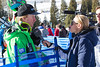 Ted Ligety getting interviewed after the third training run at the Audi Birds of Prey downhill in Beaver Creek, Colorado. Photo: Mark Epstein (USSA)