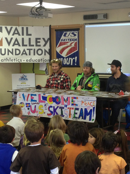 Travis Ganong, Erik Fisher and Wiley Maple meet with students at the Eagle County Charter Academy prior to the Audi Birds of Prey races in Beaver Creek, CO (Melissa Eggert/Vail Valley Foundation)