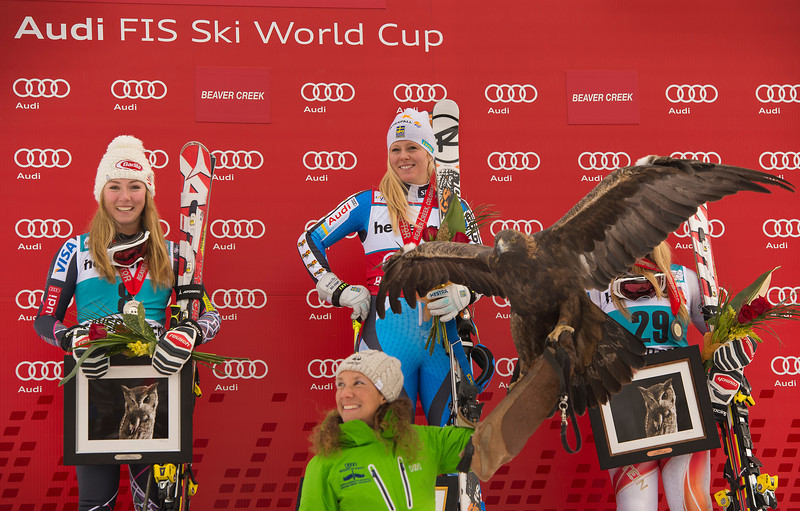 Mikaela Shiffrin eaned the first Audi FIS Alpine World Cup podium of her career with second in the Nature Valley Raptor giant slalom at Beaver Creek, CO - home of the 2015 FIS Alpine World Ski Championships  Photo: Grafton Smith
