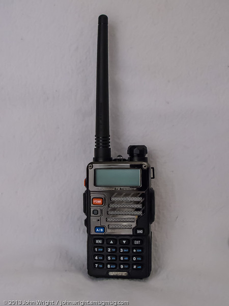 My newest HT, a Baofeng UV-5RE.  I won this radio as a raffle prize at the San Diego Six Shooters Holiday meeting.