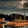Moonlit boats on Rockport Harbor