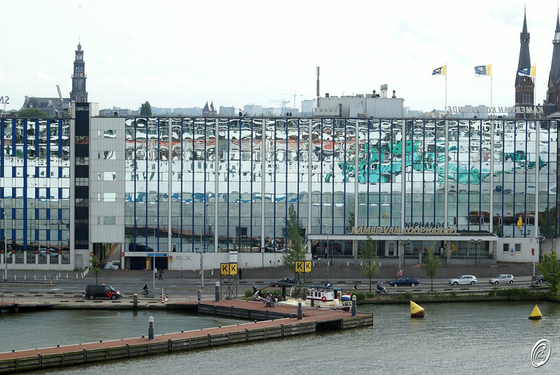 Cruise Ship in Building Amsterdam