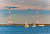 Radio towers and sailboats in Annapolis, Maryland.