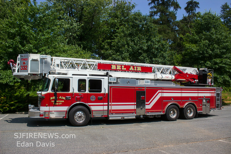 Bel Air Fire Co, Camden County NJ, Tower 332,  2009 Spartan-Crimson 100' RM, (C) Edan Davis, www sjfirenews com  (4)