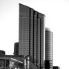 Amway Hotel key in the downtown Grand Rapids, Michigan skyline. Black and White.