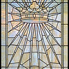 A leaded glass window in the mausoleum of F.B. York.
