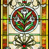 Stained glass window in the mausoleum of Margaret R. Kincaid.  Feb. 21, 1860 - Jan. 1, 1912.