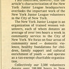 Reply by Lynn Jackson Quinn, Pres. to the New York Times artical regarding the JL HQ of October 18, 1998 by Christopher Gray.<br /> Printed in the New York Times on December 13, 1998 Real Estate Section. <br /> Scanned date: 05.13.2011<br /> Scanned by: Flora Rodriguez, Archivist<br /> Folder Name: Landmarks article<br /> Location: JL and HQ Histories Collection
