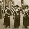 """l-r: Mrs. Phillip Lydig, Mrs. J. Blair and Miss Charlotte Delafield. <br /> Society folk play a prominent role in """"Wake Up American"""" demonstration.<br /> Miss Delafield is a NY Junior League member. <br /> Date: April 19, 1917.<br /> Photo by Underwood from PR068 Subject: Suffrage.<br /> Scan only.<br /> from New-York Historical Society."""