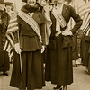"""l-r: Miss Mercedes de Acosta and Mrs. Phillip Lydig. Women play a prominent part in """"Wake Up American"""" demonstration.<br /> Miss de Acosta is a NY Junior League member. <br /> Date: April 19, 1917. <br /> PR068 Subject: Suffrage.<br /> Scan only.<br /> from New-York Historical Society."""