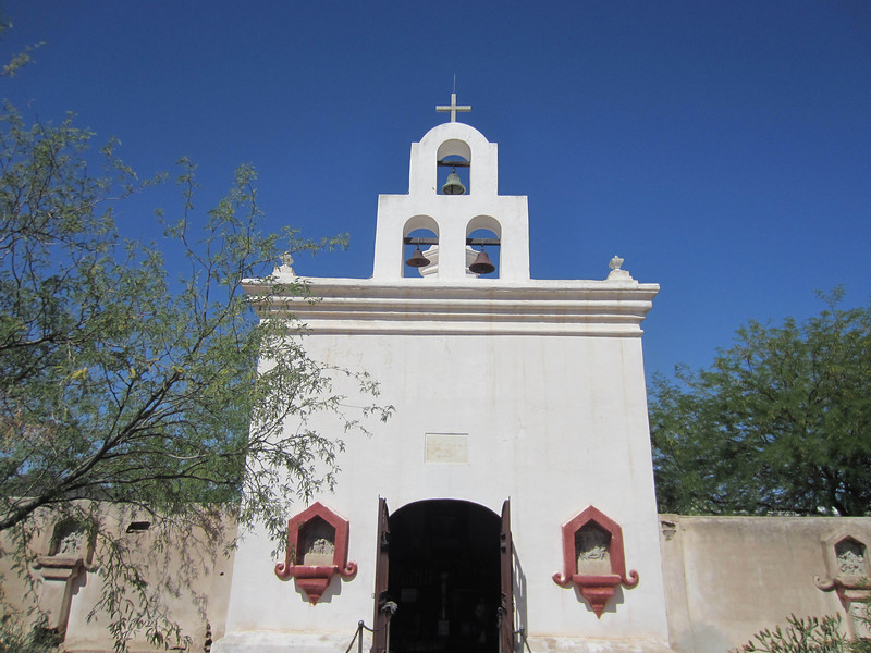 A shrine outside the main church, Mission San Xavier del Bac, south of Tucson. Originally established by the Jesuits in 1700; largely destroyed by the Tohono O'odham (Pima) people circa 1751. Rebuilt in the late 1700s.