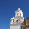 Mission San Xavier del Bac, south of Tucson. Originally established by the Jesuits in 1700; largely destroyed by the Tohono O'odham (Pima) people circa 1751. Rebuilt in the late 1700s.