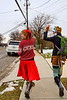 Adrienne and Megan wave to traffic - 12-14-2013