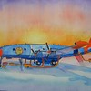 Arctic Fox - Navy constellation vxn8  10x14, watercolor, completed nov 30, 2014 CIMG9092ss