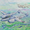 P38 Lightnings over New Guinea, 1943  14x17, color pencil, watercolor, graphite & ballpoint pen, completed  dec 4, 2014  CIMG9117ss