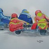 2-Fast Girls - women in Sidecar Race  14x17, watercolor, completed dec 23, 2014 CIMG9350ss