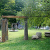 Kayla Rice/Reformer                                 Tony Palumbo and stone artist, Paul Forth, both from Colrain, Mass. worked together to build the Stonehenge Garden after Hurricane Irene damaged Palumbo's backyard and much of his property.