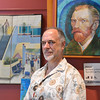 Artist David Griffin poses with his painting of the artist Vincent van Gogh's self portrait on display in the lobby of the Audi on Saturday.<br /> <br /> February 2, 2013<br /> staff photo/ David R. Jennings