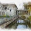 Palace on the Water, Lazienki Park, Warsaw. Watercolor