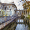 Palace on the Water, Lazienki Park, Warsaw as painted by Benson