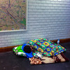 Paris, France, Homeless Man Sleeping in Metro Station