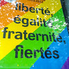 Paris, France, Window of French Socialist Party Candidate for Mayor Election, with Gay Rianbow Flag, in the Marais, Hidalgo