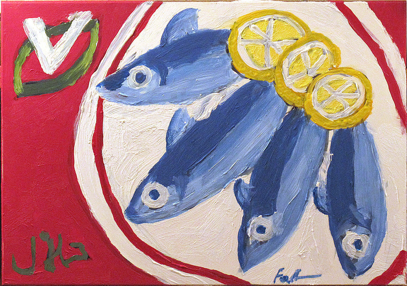 """Vega Sardines (Serving Suggestion)"", 2014, oil on Masonite, 5"" x 7"""