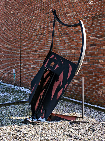 D333-2013  An abstract form in painted metal which reminds me of a Celtic harp.  University of Michigan - Dearborn November 29, 2013