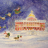 Lowell's Janet Lambert Moore took first place in the watercolor category of the 17th annual Seniors' Holiday Art Contest sponsored by the secretary of state's office for her painting of a duck-pulled sleigh flying Santa Claus over the Statehouse on a snowy night.