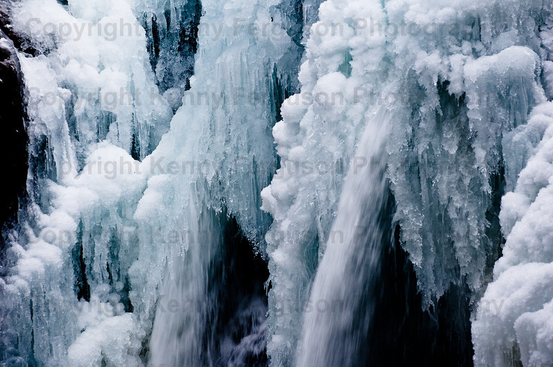 'Steale Falls' (lower falls) Glen Nevis Fort William.Frozen water fall during extreme weather conditions during the New Year period.