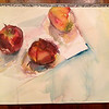 """Apples on Arches""- watercolor and pencil on arches"
