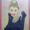 7 Audrey Hepburn, Breakfast at Tiffany's, 18x24, color pencil, june 18, 2013 CIMG8871ss
