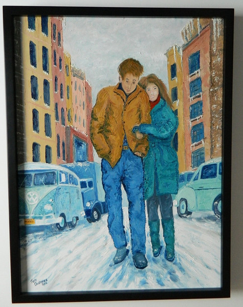42  Freewheelin' - Dylan & Suze Rotolo, Greenwich Village, February 1963 - oil, 24x18  DSCN2630s