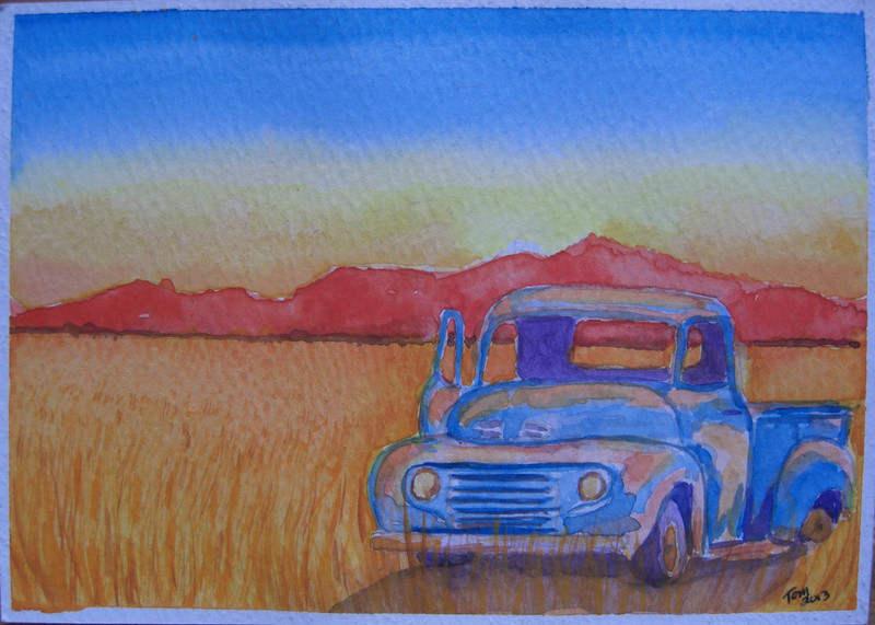 15  Wheatfield Pick-up, 4x6 watercolor, aug 14, 2013 CIMG8896ss