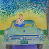 Tommy and '53 Ford, the farm, 1954, 9x12 watercolor, completed aug 30, 2013 CIMG9036ss