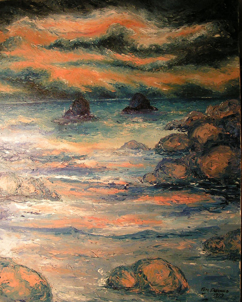 Seascape in Pink, 1973, oil, 22x28