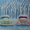 Snow Storm Saabs, 10x14 watercolor,  completed dec 8, 2013 CIMG9183ss
