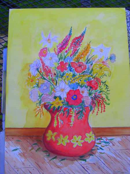 Flowers in Red Vase, 10x14 watercolor, nov 2012  - Aunt Mamie