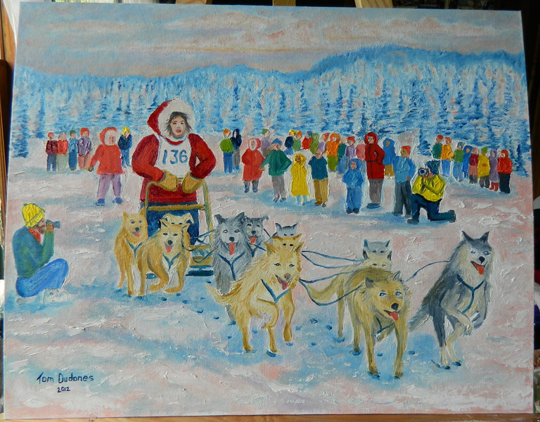 Sleddog race,  16x20, oil, finished july 19, 2012 DSCN1347sm