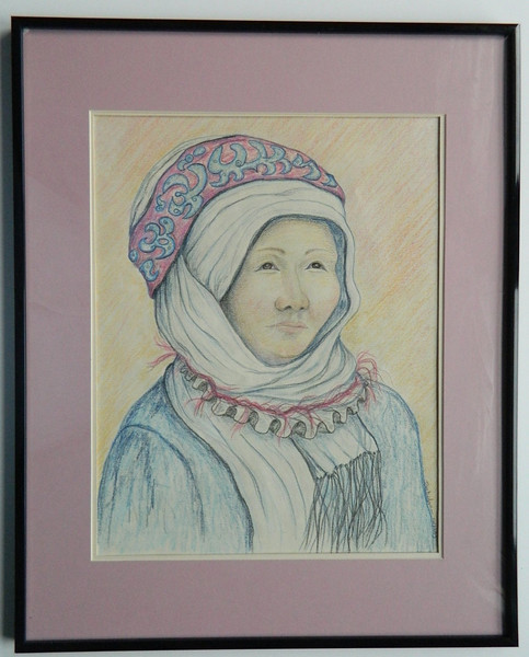 23  Uzbek Woman - color pencil, 12x15  DSCN2615s