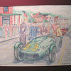 Watkins Glen 1952, 1993, color pencil, 13 5x10 5
