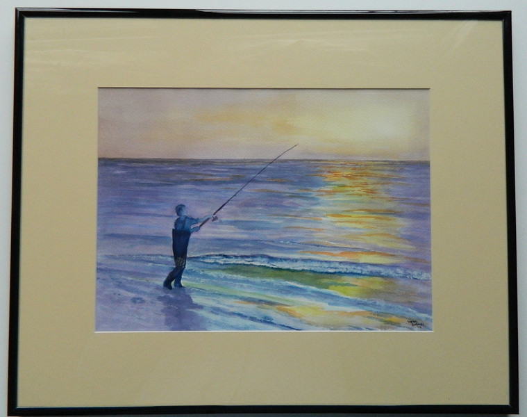 24  Surf Fishing for Blues, Cape Cod - watercolor, 10x14   DSCN2614s
