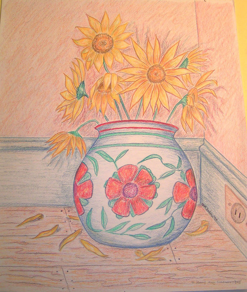 Still Life, 1993, color pencil, 14x17